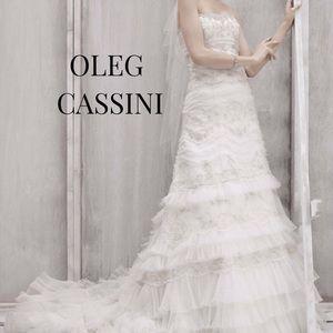 Oleg Cassini Strapless Lace Beaded Wedding Gown